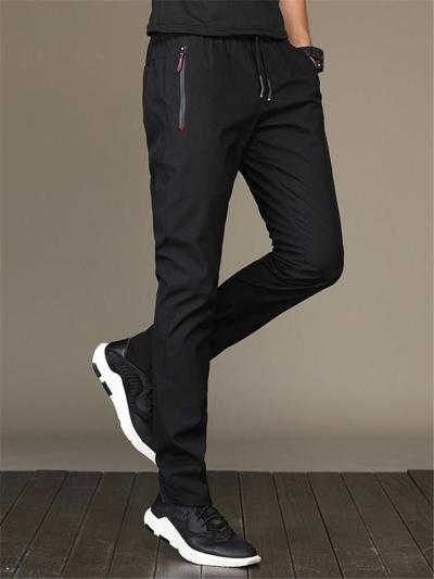 Elastane Breathable Plain Regular Fit Pants