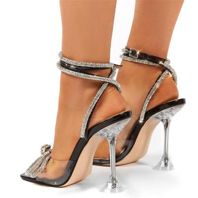 Fashionable Ankle-Strap Square-Toe Clear Stiletto Heel Bow Detail Sandals