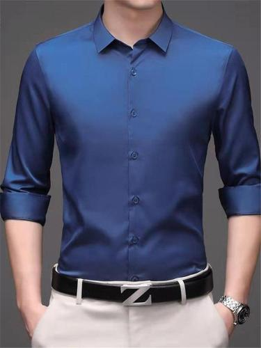 Business Slim Fit Pure Color Plain Long Sleeve Shirts