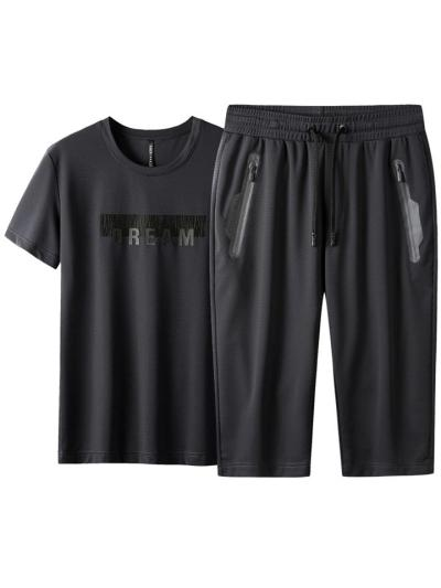 Workout Quick Dry Lightweight Short Sleeved T-Shirts+Cropped Pants