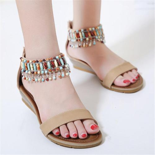 Bohemian Style Ankle-Strap Beaded Embellished Back Zipper Wedge Sandals