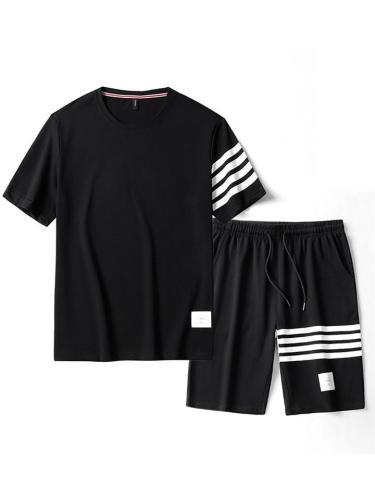 Moisture Wicking Quick Dry Patchwork Short Sleeved T-Shirts+Shorts
