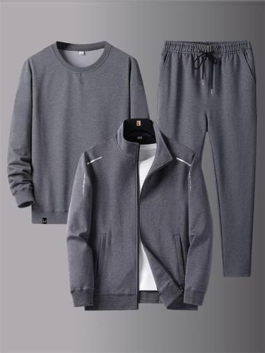Workout Comfy Plain Long Sleeved Coats+Pants+Hoodies