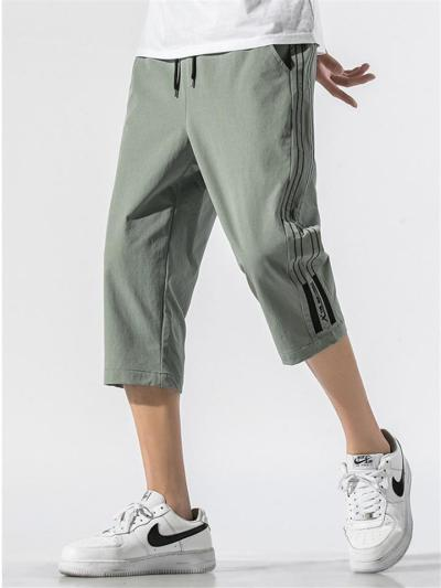 Soft Stripe Personality Summer Beach Cropped Trousers