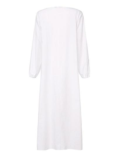 Soft Touch Ruffled Detailing V Neck Long Sleeve Loose Fit Maxi Nightgown