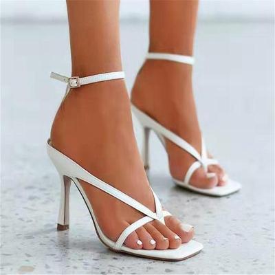 Fashionable Ankle-Strap Square-Toe High Heel Flip Flops Lightweight Sandals