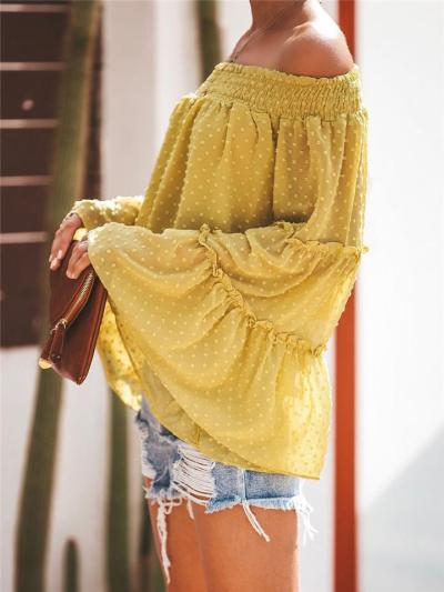 Oversized Style Off Shoulder Flare Long Sleeve Lightweight Pullover Cropped Tops