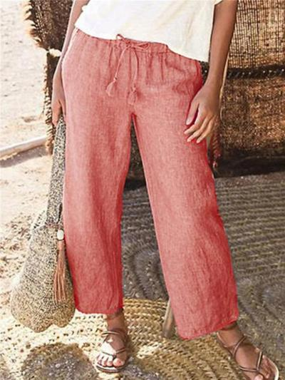 Laid-Back Style Straight Silhouette Drawstring Elastic Waistband Linen Pants
