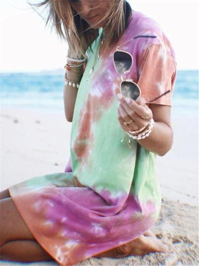 Relaxed Shape Straight Silhouette Multicolor Tie-Dye Thigh-Length T-Shirt Dress