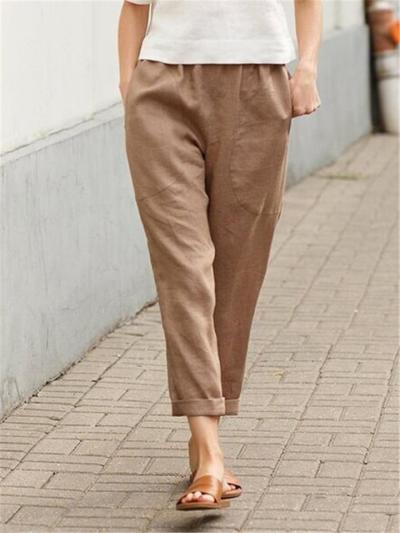 Minimalist Style Elasticated Waistband Rolled Cuff Straight Leg Linen Pants