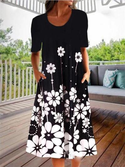 Casual Flared Style Scoop Neck Floral Print Short Sleeve Pocket Knee-Length Dress