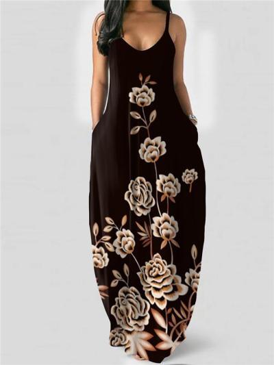 Spaghetti Strap Scoop Neck Flared Design Floral Print Pocket Full-Length Dress