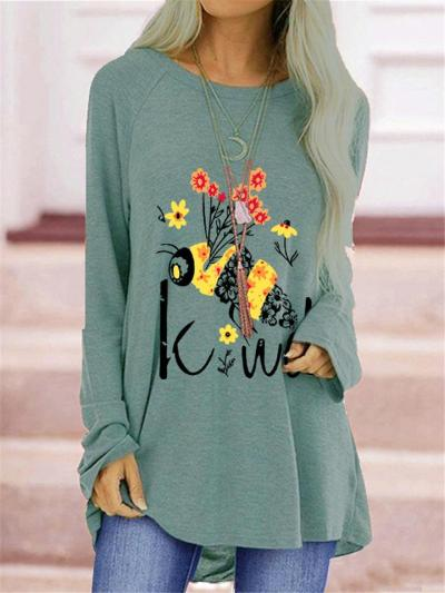 Relaxed Shape Bee Floral Print Crew Neck Long Sleeve Straight Hem Tops