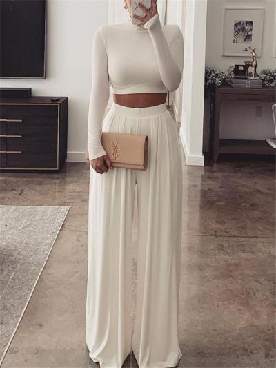 Lightweight 2 Piece Set High-Neck Long Sleeve Cropped Tops + Pleated Wide Leg Pants