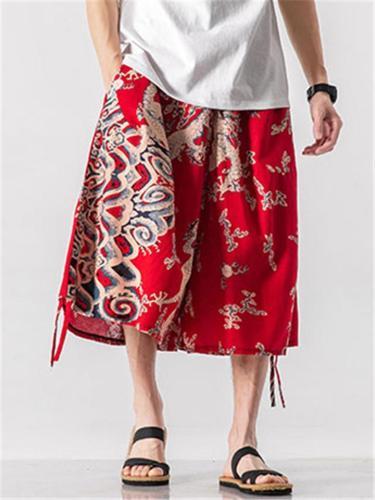 Vintage Baggy Print Comfy Linen Fashion Pants