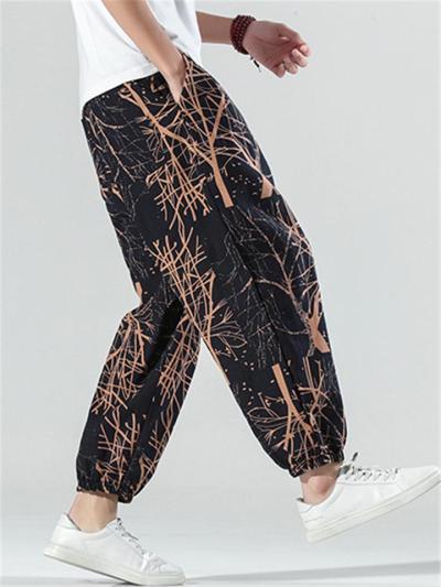 Mens Casual Loose Linen Print Ankle Pants