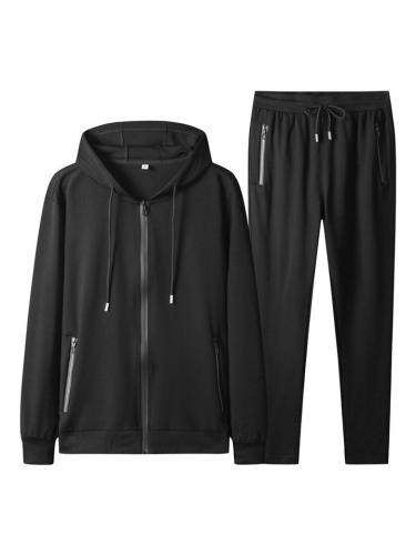 Mens Sports Suit Straight Hooded Outerwear & Trouser