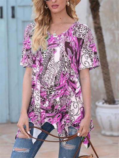 Laid-Back Style All-Over Print Symmetric Hem Short Sleeve Casual Tops