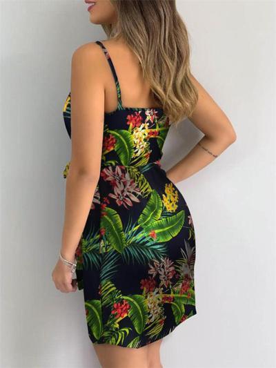 Sexy Pretty Spaghetti Strap Wrap Design Floral Print Side Tie Fastening Dress