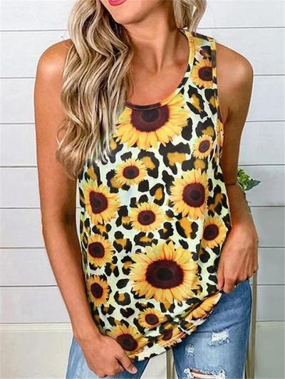 On-Trendy All-Over Sunflower Print Twist-Design Sleeveless Straight Hem Tops