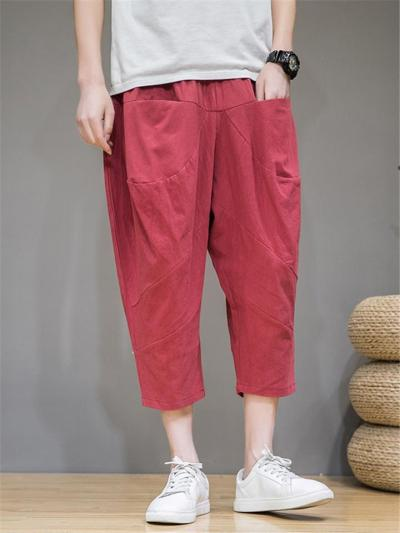 Mens Casual Loose Harem Pants With Kangaroo Pockets