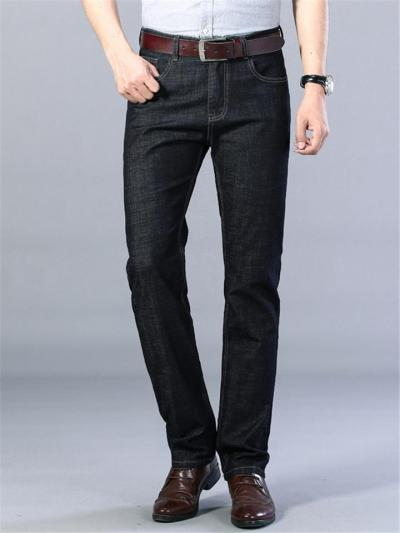 Loose Elastane Straight Breathable Denim Pants