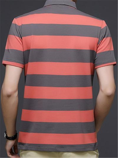 Business Breathable Stripe Comfy POLO Short Sleeve Shirts