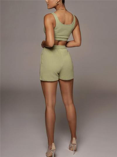Soft Touch 2 Piece Set Scoop Neck Cropped Tank Top + Elastic Waistband Drawstring Shorts
