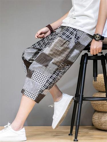 Comfy Plaid Pattern Loose Linen Cropped Pants