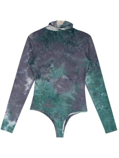 Stretch-Fit Turtleneck Long Sleeve Multicolor Tie-Dye Fitted Silhouette Bodysuit
