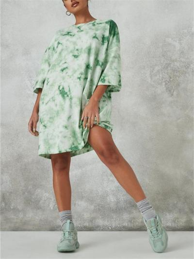 Oversized Style Multicolor Tie-Dye Thigh-Length Straight Hem Pullover T-Shirt Dress