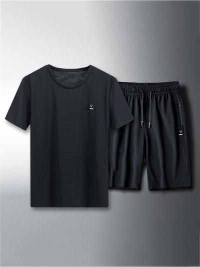 Elastane Breathable Quick Dry Knitted Short Sleeved T-Shirts+Cropped Pants