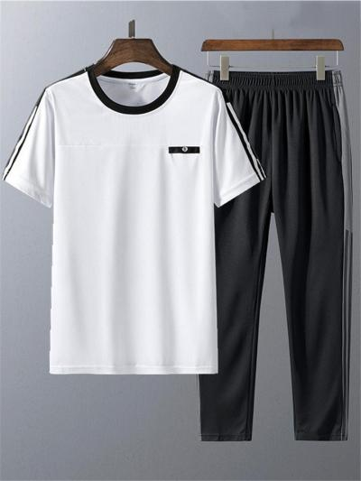 Casual Print Comfy Workout Short Sleeved T-Shirts+Pants