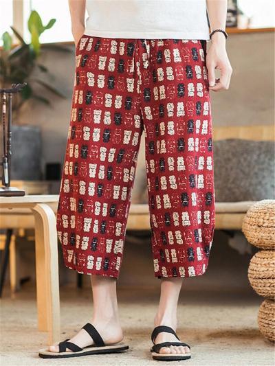 Comfy Floral Print Loose Linen Cropped Pants