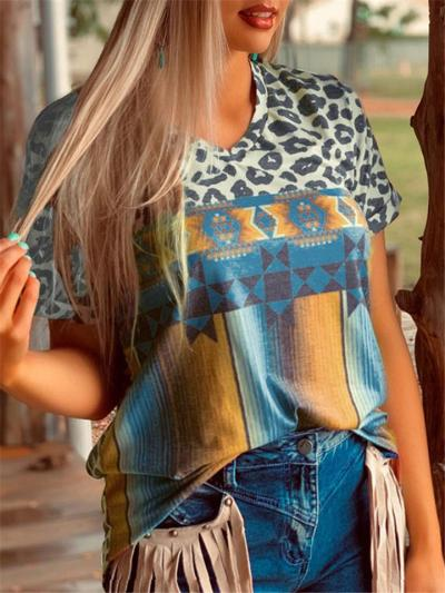 Short-Sleeved Design Crew Neck Leopard Geometric Print Straight Hem T-Shirt