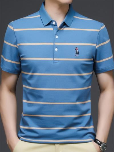 Business Breathable Stripe Knit Comfy POLO Short Sleeve Shirts
