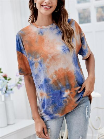 Relaxed Shape Straight Hem Crew Neck Laid-Back Style Tie-Dye Pattern Tops
