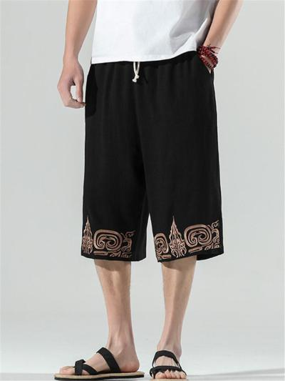 Mens Casual Loose Harem Beach Cropped Pants