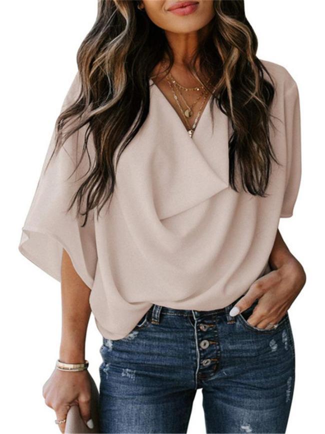 Feminine Flowy Style Cowl Neck Half Sleeve Lightweight Chiffon Pullover Tops