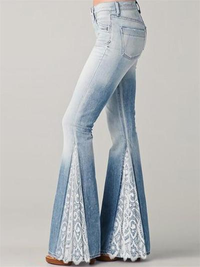 Flared Style Classic Pocket Belt Loop Floral Lace Design Full-Length Denim Jeans