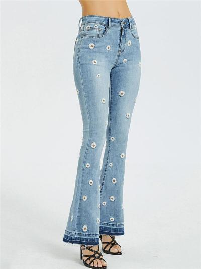 On-Trendy Flared Style Flower Embroidered Frayed Detailing Classic Pocket Denim Jeans