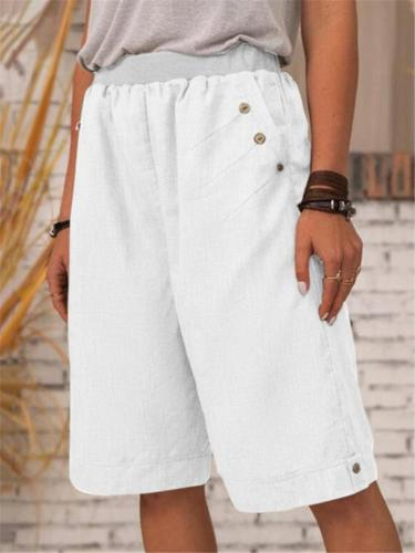 Casual Style Elastic Waistband Button Detailing Straight Silhouette Bermuda Shorts
