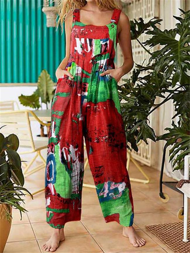 Oversized Square Neck All-Over Contrasting Color Print Sleeveless Pocket Pleated Overalls