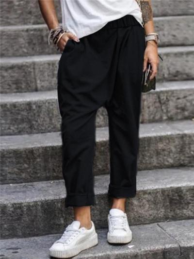Relaxed Shape Elastic Waistband Straight-Leg Full-Length Pocket Cotton-Blend Pants