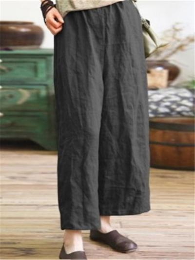 Laid-Back Style Straight Silhouette Cotton-Linen Cropped Wide-Leg Pants
