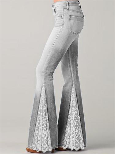 Flared Style Classic Pocket Belt Loop Floral Lace Design Full-Length Denim Jeans