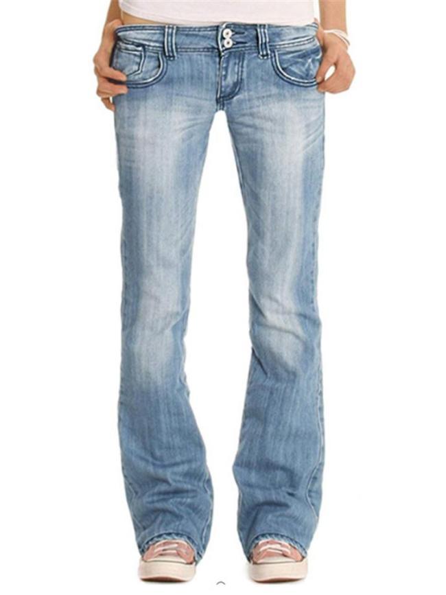 Slightly Flared Style Classic Pocket Stonewashed Effect Full-Length Denim Jeans