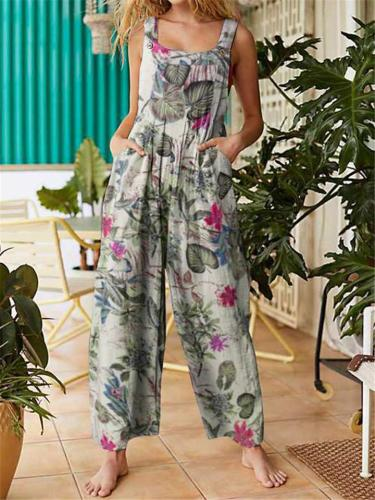 On-Trendy Square Neck All-Over Floral Print Sleeveless Pocket Pleated Overalls