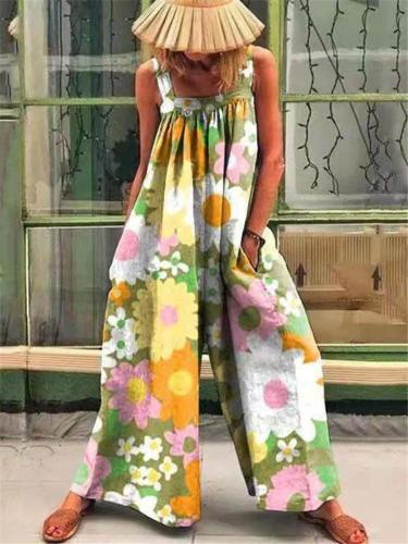 Oversized Style Square Neck All-Over Vibrant Floral Print Sleeveless Overalls