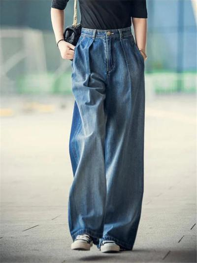 Casual Style High-Rise Contrast Stitching Stonewashed Effect Wide-Leg Pocket Jeans